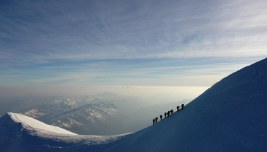 Ancelin at the top of Mont Blanc, a challenging climb !